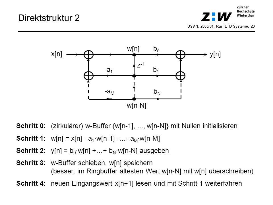 Direktstruktur 2 w[n] bo x[n] y[n] z-1 -a1 b1 -aM bN w[n-N]